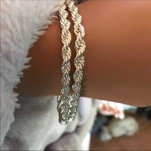 2 Silver Chain Bracelets.